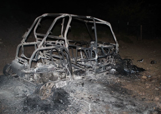 ashes of a Polaris vehicle after a fire