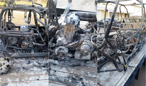 3 views of a polaris vehicle after a fire
