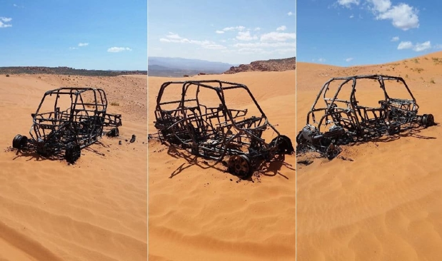 3 angles of a polaris vehicle after a fire